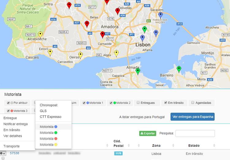 Aplicação web para gerir entregas de lojas físicas ou online